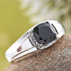 Other - Thai Black Spinel Platinum Bond Brass Men's Ring